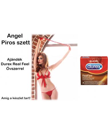 Angel piros fehérnemű szett ajándék 3 db-os óvszerrel Csomagok ajándék termékkel  Leg Avenue