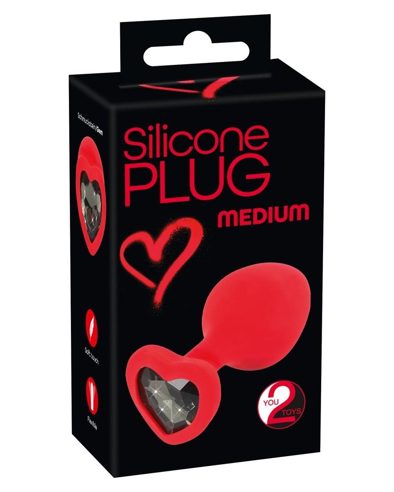 Silicone Plug fekete köves, szíves anál dildó - közepes Anális kényeztetés