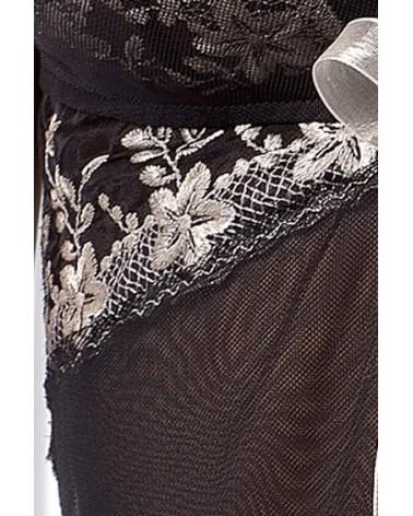 Astra peignoir fekete csipkés hálóing Casmir
