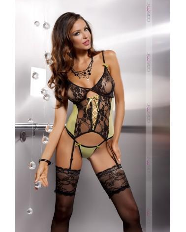 Clara corset olíva zöld fekete csipkés fűző